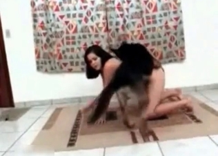Puppy and woman are enjoying nasty bestiality
